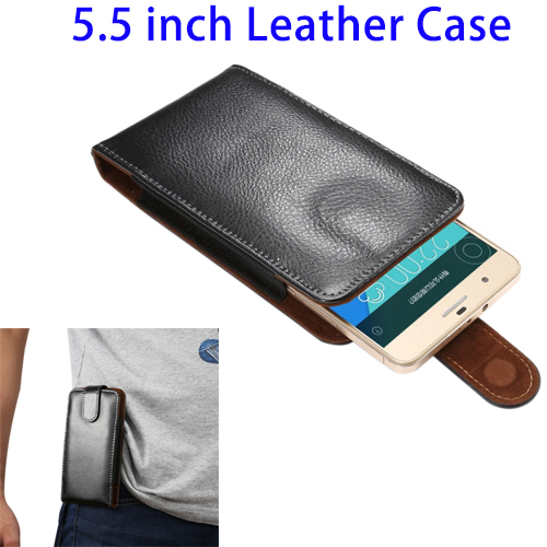 Wholesale 5.5 inch Litchi Texture Vertical Flip Genuine Leather Waist Bag Case for Samsung Galaxy Note 3