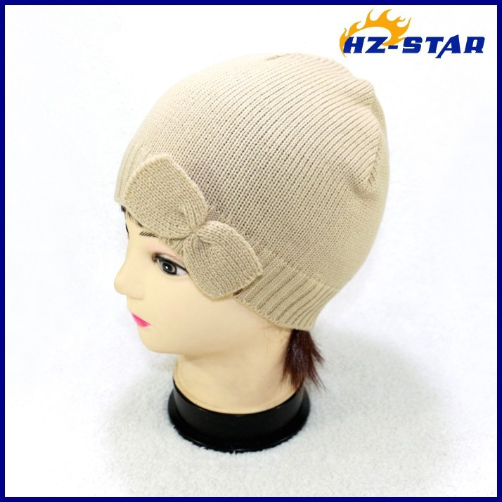HZM-12103003 hot selling single ply lady 100 acrylic knit ear flap baseball winter hat military