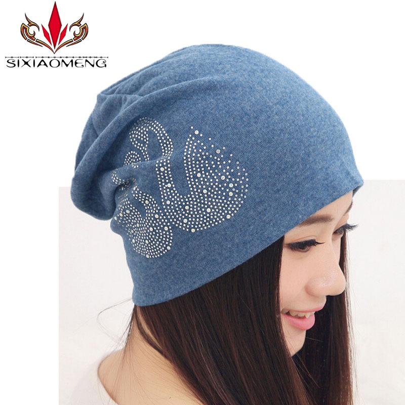 Beanies Women New Fashion women's hats Solid Color Set With Diamonds Beanie Knitted Cap Winter Hat 7 Colors Gorros Top Quality