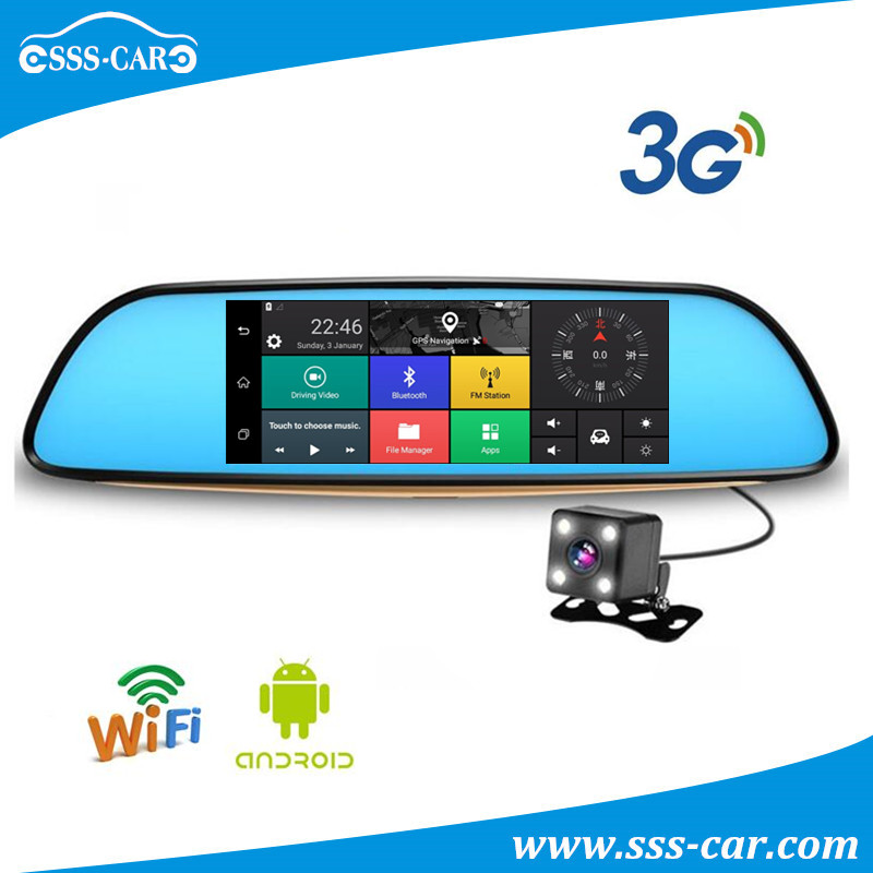 Universal 3G 7inch android car gps dvr bluetooth car rearview dvr mirror with dual camera lens