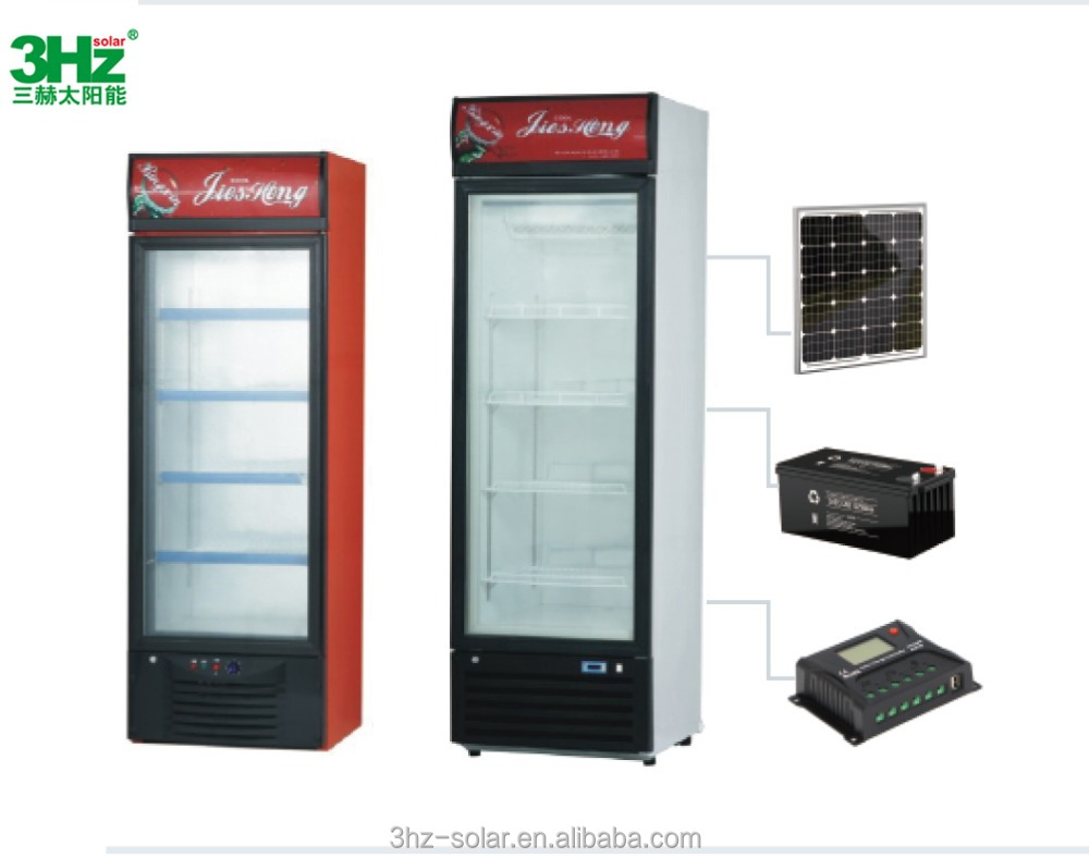 Solar Refrigerator Low Power Consumption Solar 218L/248L/288L/338L/268L/368L Glass Door Display Refrigerator