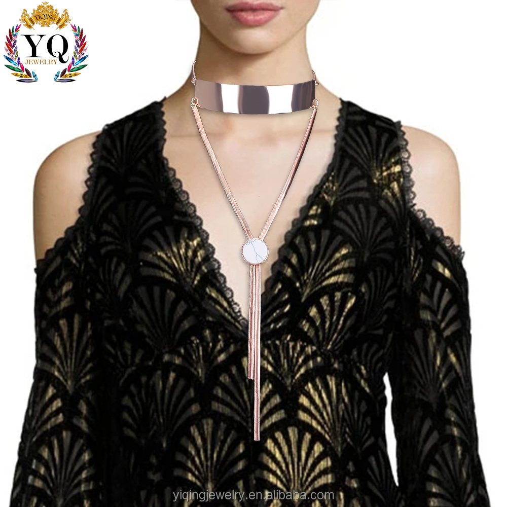 NYQ-00358-1 2017 unique design fashion fake gold jewelry natural white turquoise polished lariat necklace