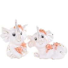 WS Ceramic Nordic Couple Elephant Statues For Home Crafts