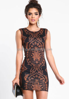 Wholesale Plus Size Bodycon Dresses Sleeveless Baroque Print Dress