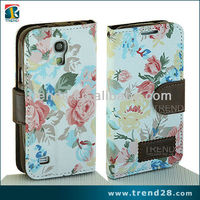 beautiful flip flower leather case for samsung galaxy s4 mini
