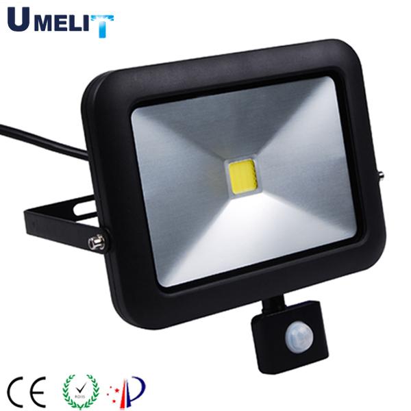 CE RoHS approved die cast aluminum 10w 20w 30w 50w led flood light with pir sensor