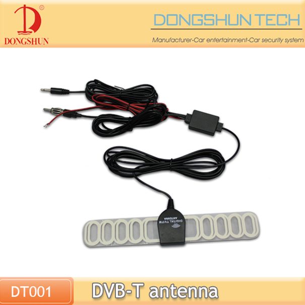 DVB-T auto car tv antenna installation with amplifier