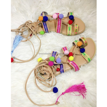 Flat Cross Straps Roman Color Hair Ball Tassel Sandals