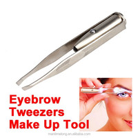 Stainless Steel Make Up Tool LED Light Eyelash Eyebrow Hair Removal Tweezer