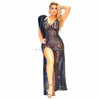 Women Sexy Deep V-Neck Sequin Side Split Bodycon Sequin Cocktail Maxi Gown Party Dress