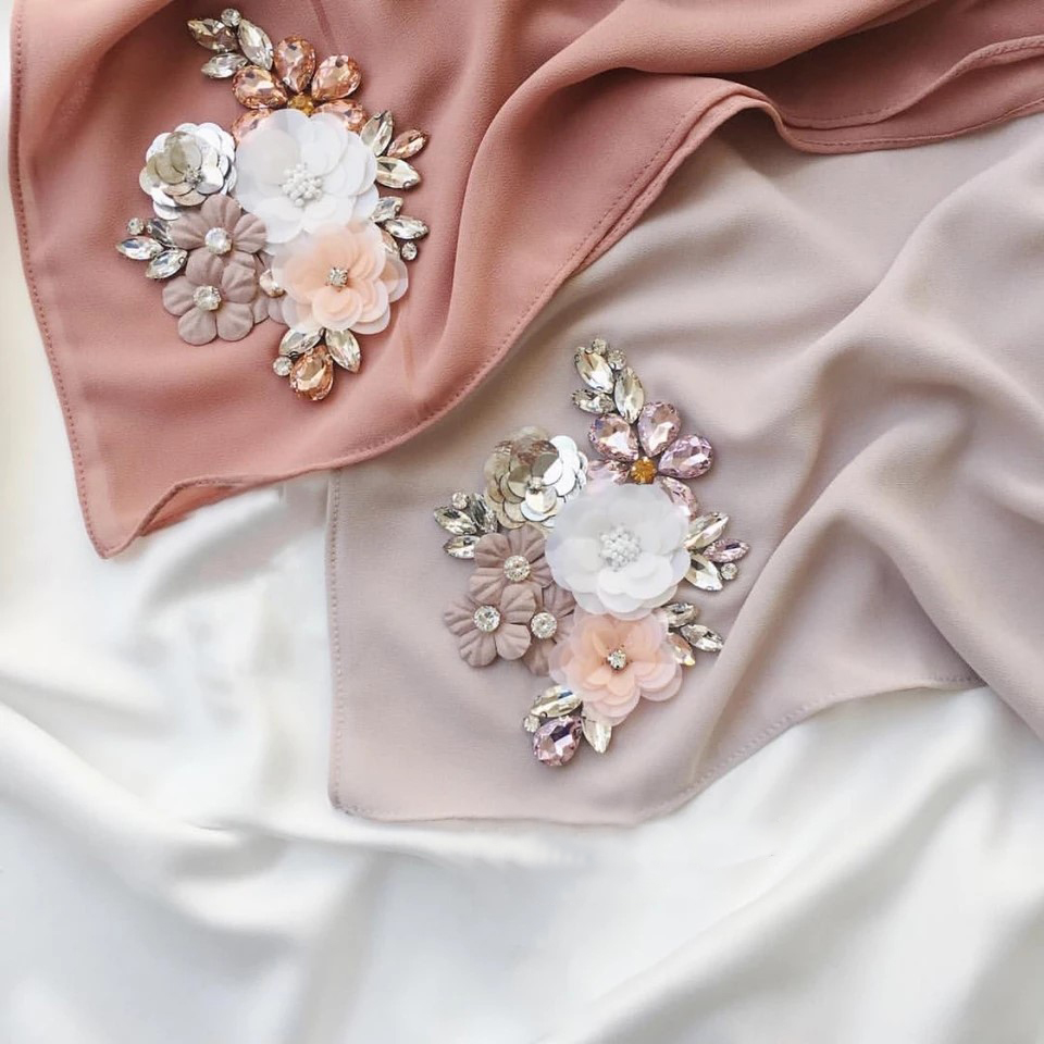 2018 simple fashion islamic flower diamond arabic hijab muslim scarf