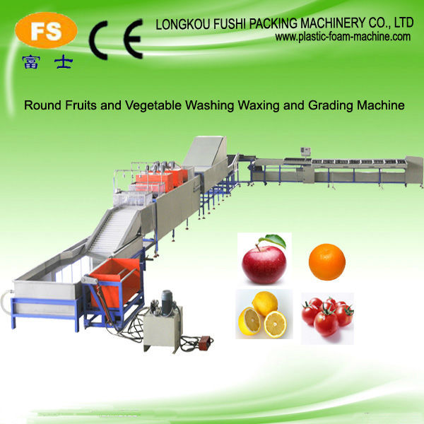 High-speed fruit and vegatable cleaning drying waxing and sorting machine