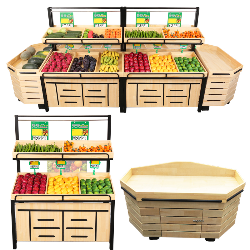 wooden fruit shop display rack vegetable and fruit display shelves