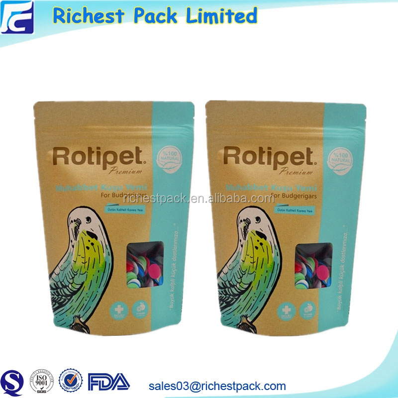 Custom new product kraft paper bag foil pouch ziplock pet food package