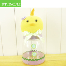 unique chicken design easter decor plastic novelty cookie jar with ribbon bow