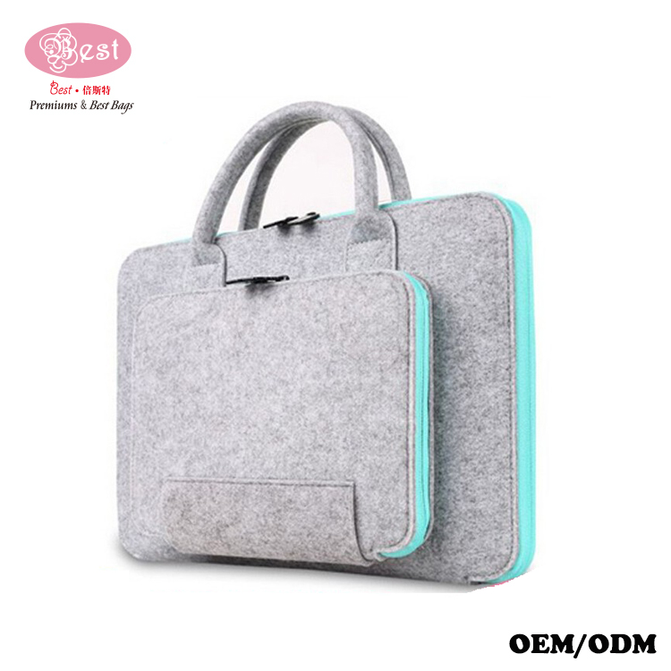 "Hot Selling Custom Unique Design Fashion College Student Laptop Bag Teenager Durable 14"" zipper around Wool felt laptop bag"