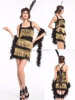 LADIES 1920s FLAPPER DRESS BLACK / RUBY ADULT COSTUME ONE SIZE FANCY DRESS