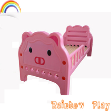 kindergarten funny plastic kids cartoon bed with wooden sleeping board