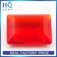 Hot Sale Emerald Cut Red Color Rectangle Shape Glass Gems for Jewelry