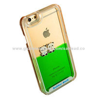 Aqua crystal case for iPhone 6 plus with 2 pandas floater
