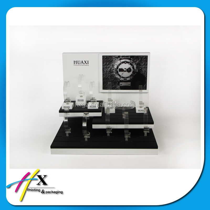 2016 white and black wooden display counter for watches at factory price