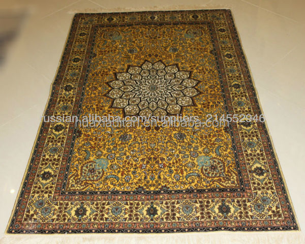 golden color shinny silk carpet rugs suppliers factory wholesale
