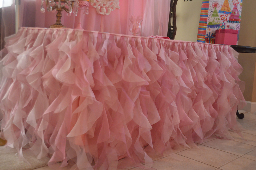 Wedding Pink Ruffled Table Cloth Woven Buy