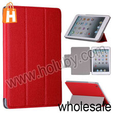 Wholesale Lichee Texture 3 Fold Triangle Stand Magnetic Flip Leather Case for iPad Mini Multi Colors