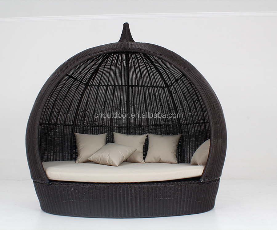 All Weather Wicker Garden Furniture Round Sun Lounge With Canopy
