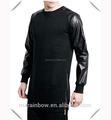 men's stylish Black long line sweatshirt with leather sleeve and gold zip ,fashion street wear for urban living
