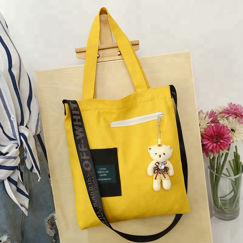 BSCI factory supply 100% cotton zipper canvas cotton tote bag