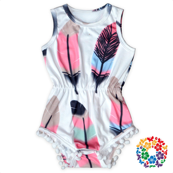 Colorful Feather Prints Baby Pom Pom Romper Sleeveless Newborn Infant & Toddlers Rompers Baby Clothes Wholesale In Yiwu China