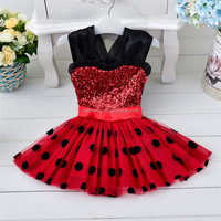 2016 new product red sleeveless cute dot 3 year old girl dress