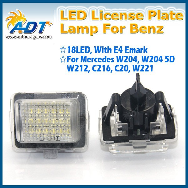 Bright LED License Plate Lights For Mercedes for Benz W204 5D W212, C216, C20, W221