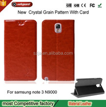 Crystal Grain Pattern Stand for note 3 Leather Case Card Wallet for Samsung GALAXY note 3 N9000