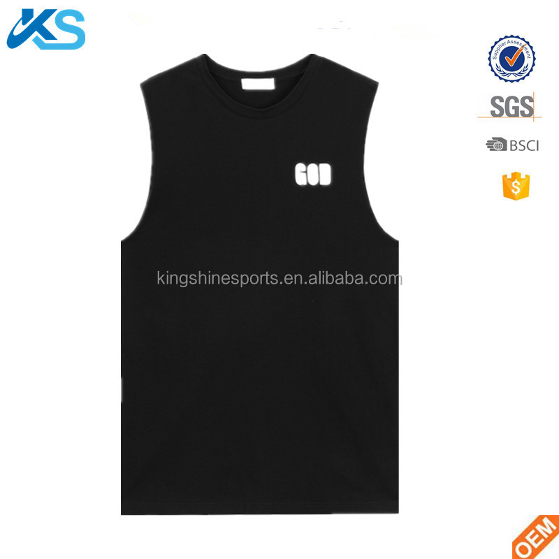 2017 OEM wholesale men's round neck sleeveless tank top jersey 100% cotton vest printed singlet