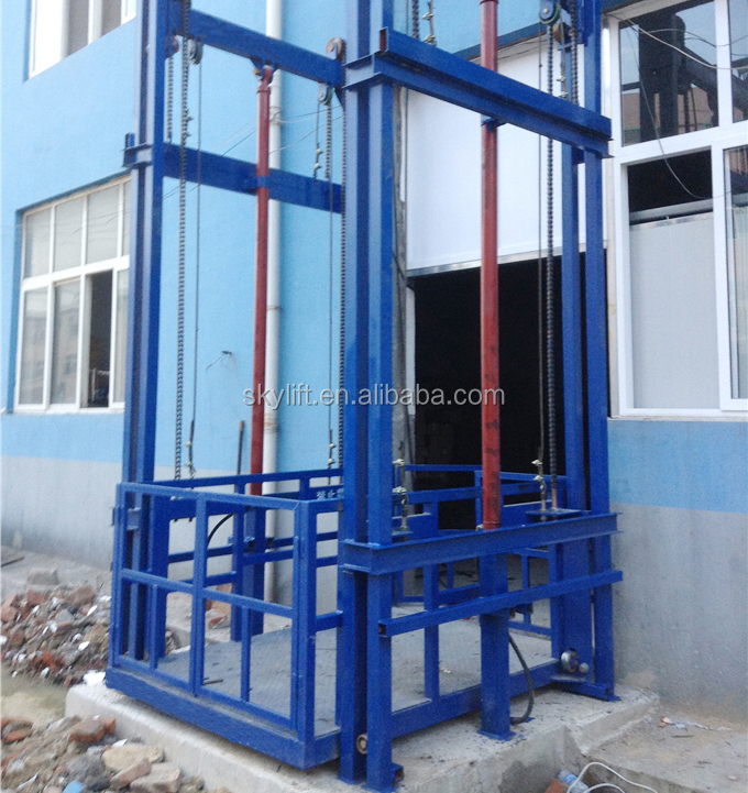 Vertical guide rail lift vertical electric lifts for warehouse hydraulic freight elevator