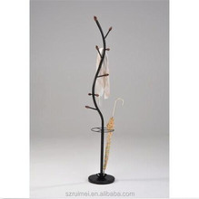 Black Metal Walnut Wood Hall Tree Coat Hat Rack with Umbrella Stand