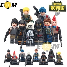 8pcs/set Minifigs The Game of Fortnite With Weapon Skull Trooper small assembly toy Building Blocks Toy Children