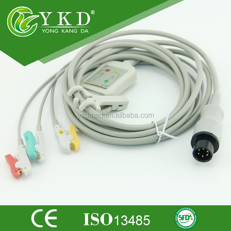 HOT SALES Compatible PPG 6pin ECG Trunk Cable AHA,clip 3LEADS