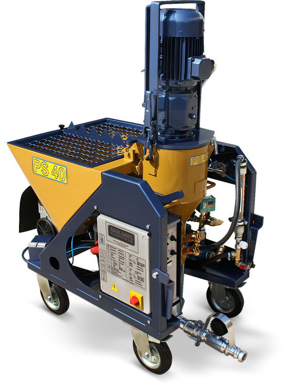 PS 40 plastering machine for gypsum plasters and ready dry mixed materials.
