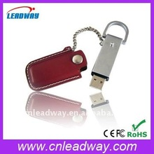 Classic lanyard leather case promotional gift USB flash pen