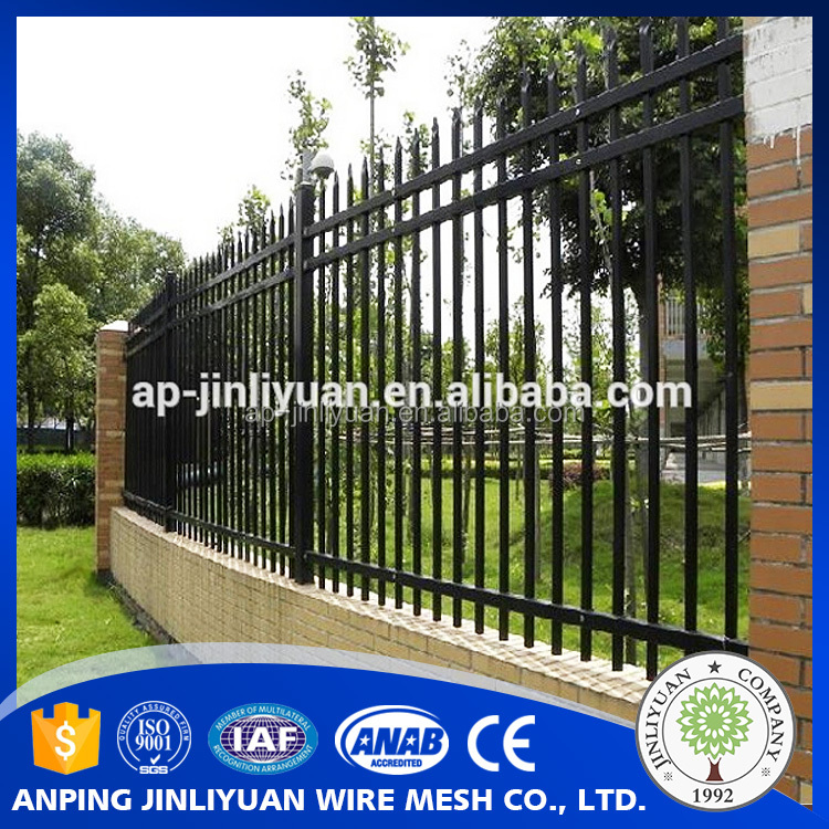 Garden Security Black Powder Coating Ornamental Wrought Iron Fence