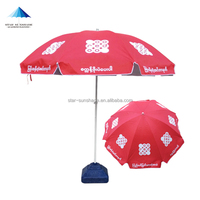 Ooredoo red uv resistant large big custom printed outdoor beach parasol umbrella sun umbrella sun outdoor garden
