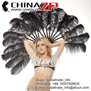 Handmade Black Single Layer Ostrich Feather Fan Burlesque Dance Costume