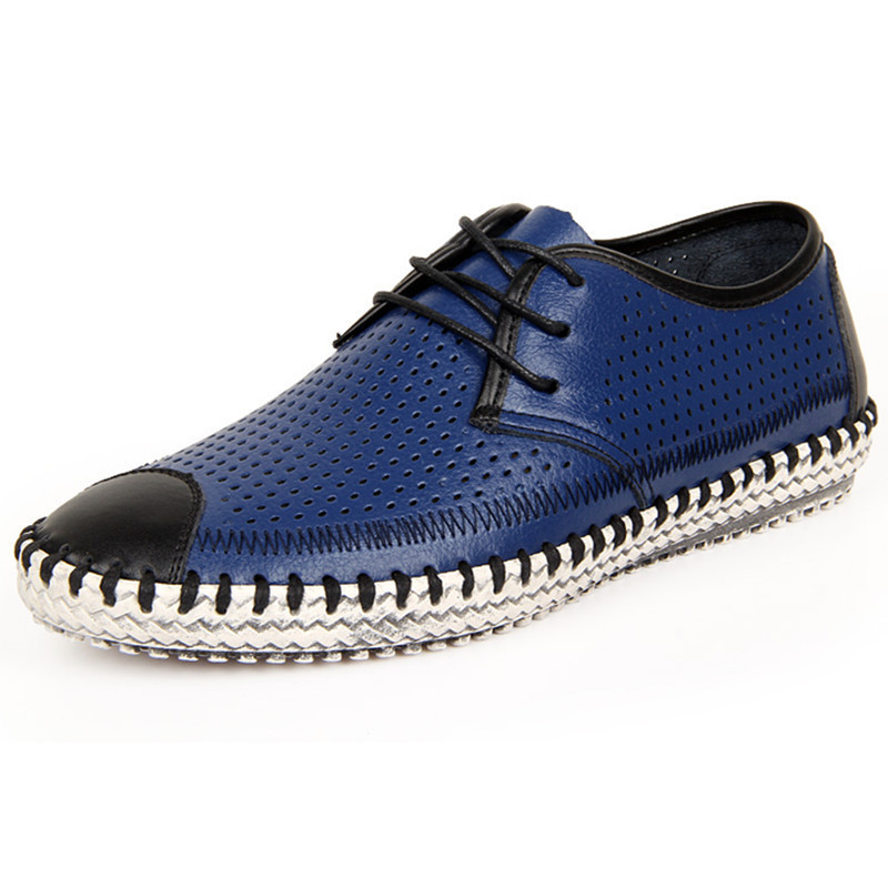 2015 New Men Loafers Leather Moccasins Breathable Casual Lace Flats Driving Shoes For Man Zapatos Hombre Spring Blue Size 38-44