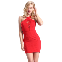 Summer Dresses Red Halter Lace&Cotton Fabric Sexy Tight Bandage Tube Dress