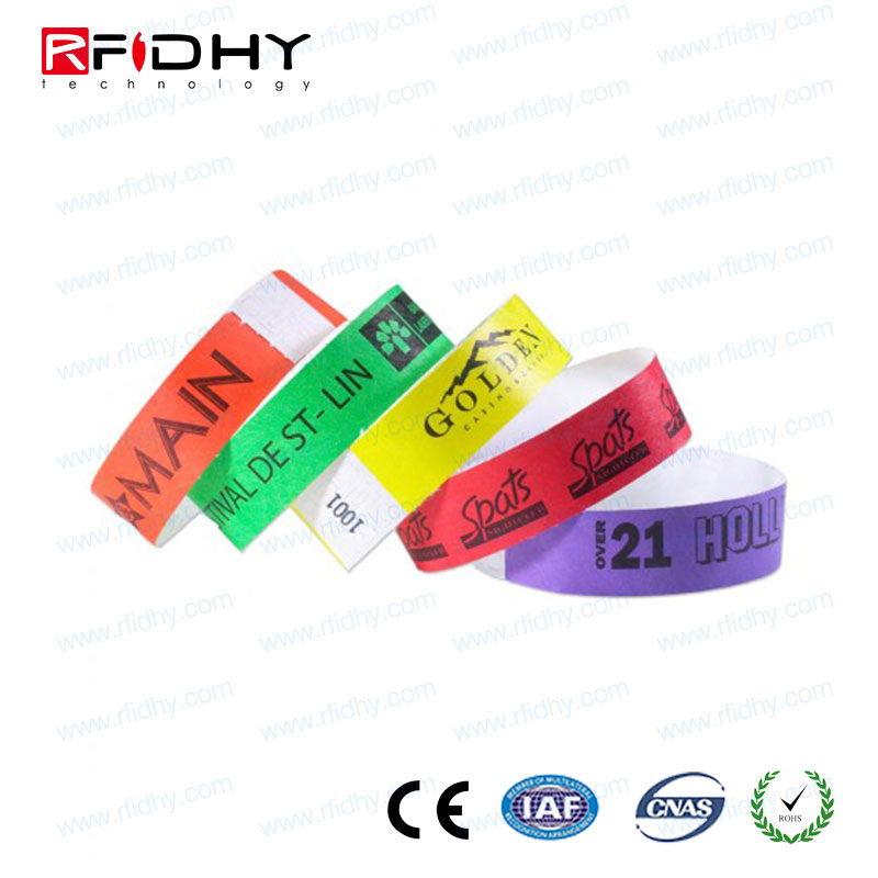 ISO 14443A MIFARE(R) Classic EV1 1K Vinyl PP synthetic rfid paper Bracelet for event
