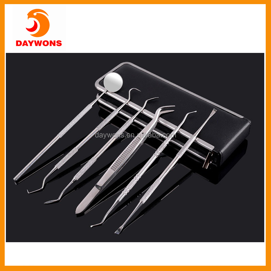 Dental Hygiene Tool Kit - Set Stainless Steel Dental Instruments Mouth Mirror Probe Plier Tweezers Teeth Tooth Clean Hygiene Kit