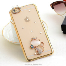 Luxurious Plating border Animal Rhinestone cell phone protective case